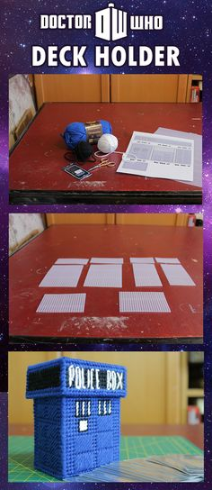 #DIY #DoctorWho #TARDIS Deck holder for Magic: the Gather, Yu-Gi-Oh, Pokemon and more! Click the pic for the tutorial!