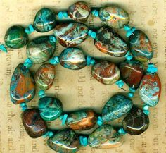 """Blue Agate Nugget Beads Free Form Ovals Patterns in Blue Rust Tan 16"""" Strand   eBay"""