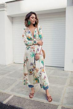 Floral print kimono - Zara