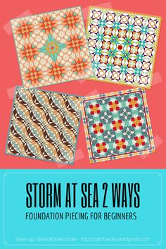 Video tutorial: Storm at sea – Foundation piecing for beginners (Sewn up, TeresaDownUnder) Quilting For Beginners, Quilting Tutorials, Sewing For Beginners, Quilting Tips, Quilting Projects, Sewing Projects, Paper Pieced Quilt Patterns, Modern Quilt Patterns, Modern Quilting