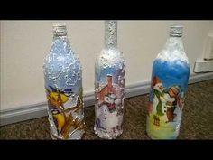 Butelka zimowa z bałwankiem decoupage- łatwa! Instrukcja krok po kroku