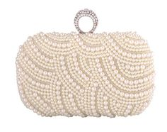 1313 black/white pearl rhinestone evening clutch bag ring bag---USD36