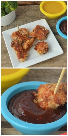 Homemade BBQ sauce and other dips! Perfect for  healthy and homemade chicken nuggets.