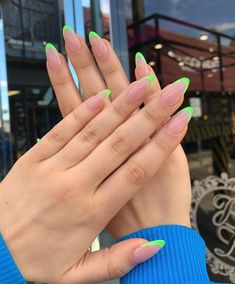 French Tip Acrylic Nails, Acrylic Nails Coffin Short, Square Acrylic Nails, Best Acrylic Nails, Colored French Nails, Edgy Nails, Stylish Nails, Swag Nails, Casual Nails