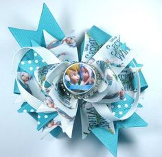 Boutique Tinkerbell  Periwinkle Sercret Wings Fairy Bottle Cap Hair Bow Clip. $6.50, via Etsy.