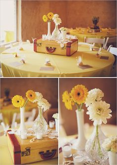 I like the bud vases. Bud vases paired with simple daisies could be really sweet with the book centerpieces I have in mind.