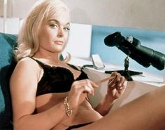 """Shirley Eaton as Jill Masterson - Goldfinger (1964). The famous """"golden girl"""". There's a popular urban legend that the actress (much like the character) died from skin asphyxiation after having all of her pores sealed with gold paint. Not only is that not even possible, Shirley Eaton is still alive today."""