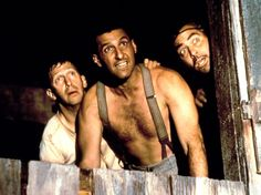 George Clooney, John Turturro and Tim Blake Nelson in O Brother Where Art Thou? as Evertt McGill (Clooney), Pete Hogwallop (Turturro) and Delmar O'Donnell (Nelson) Road Trip Movie, Man Of Constant Sorrow, Brother Where Art Thou, Charles Durning, John Turturro, Coen Brothers, 1 Gif, The Big Lebowski, Movie Facts