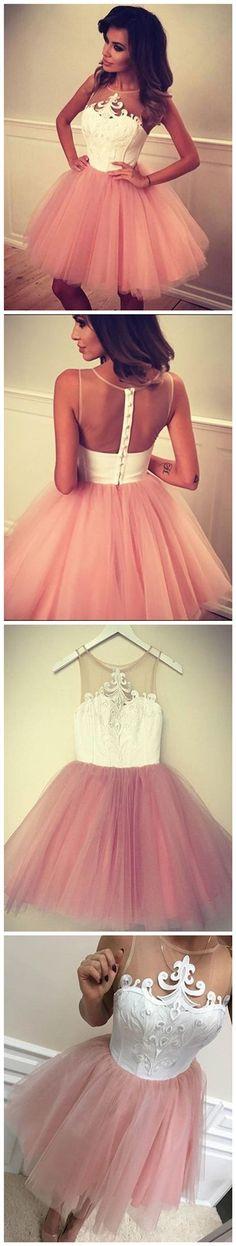 2017 Homecoming Dress Pink Appliques Short Prom Dress Party Dress JK093
