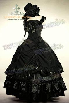 Grande robe de bal noire sans manche gothique aristocrate lolita Like this.