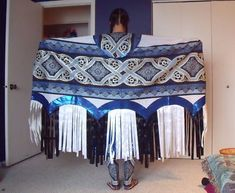 Up for bid is a fancy shawl dance outfit. The outfit includes a shawl, cape, leggings, and dress. The moccasins being worn in the picture are not included in the auction. The colors are dark blue, lig Native American Regalia, Native American Patterns, Native American Clothing, Native American Design, Native American Women, Native American Beading, Native American Fashion, Native Fashion, Native Design