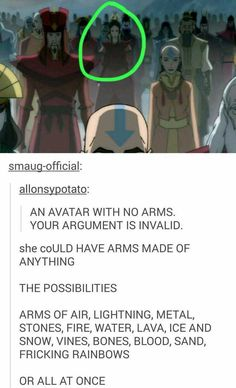 Except for metal. Korra was the first Avatar to bend metal. Avatar the Last Airbender/Legend of Korra Avatar Airbender, Avatar Aang, Avatar The Last Airbender Funny, The Last Avatar, Avatar Funny, Team Avatar, Zuko And Katara, Atla Memes, The Last Airbender