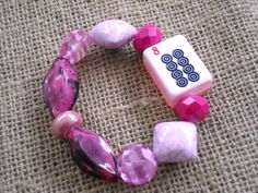 Mahjong Pink Tile Bracelet - Jesse James Jewelry - Mahjong Jewelry by MahjongJewelry on Etsy