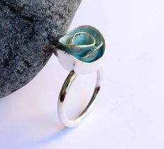 Unique Turquoise Rose Ring Blue Enamel Statement por meltemsem, $115.00