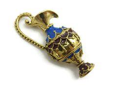 Costume Jewelry Brooch - Enamel Brooch, Ewer, Water Jug Brooch, Figural, Gold Tone