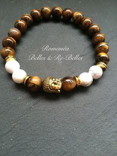 """Bracelet """"Bouddha"""" Oeil de Tigre et howlite blanche - pierres naturelles : Bracelet par romanea-belles-et-rebelles"""