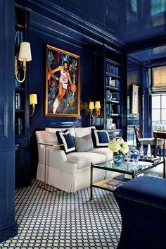 Interior Architecture, Interior And Exterior, Interior Design, Blue Velvet Sofa Living Room, Enchanted Home, Pretty Room, Home Office Decor, Home Decor, Elegant Homes