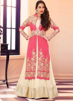 Radiant Pink And Cream Georgette With Silk Jacket Designer Pakistani Dress http://www.angelnx.com/Bollywood