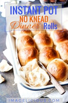 Instant Pot No Knead Dinner Rolls will be the star of any meal. They are feathery light, buttery, and soft. Perfect for sandwiches or an accompaniment to a roast. Easy to make without a mixer. They require no kneading and rise in your electric pressure cooker   imagelicious.com #InstantPot #InstantPotBread #bread #dinnerrolls #noKneadBread