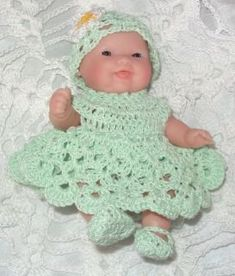 "Crochet Doll Clothes for 5"" Berenguer Itty Bitty Baby Mint Cotton 4 PC Outfit"