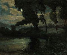 Landscape by night, ca 1900, Josef Kral. (1877 - 1917)