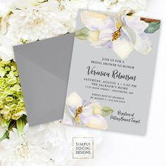 Magnolia Shower Invitation Bridal Shower Baby Shower White Flowers and Grey Watercolor Grey and White Southern Party Invitation Printable