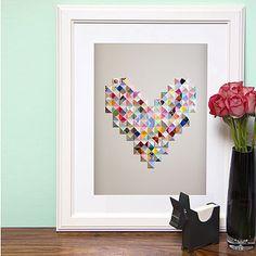 Paper Pyramid Heart Print
