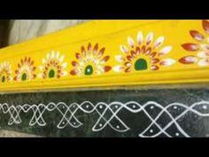 Gadapa design,very simple gadapa mugulu,gadapa rangoli design. Rangoli Borders, Rangoli Border Designs, Colorful Rangoli Designs, Rangoli Designs Images, Alpona Design, Entrance Design, Door Design, Pooja Room Design, Diy Wall Painting