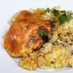 Naprosto jednoduchý recept na pečené kuřecí maso s rýží z jednoho pekáče. Grains, Chicken, Meat, Food, Essen, Yemek, Buffalo Chicken, Cubs, Meals
