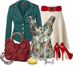 Green, Cream & Burned Orange  Outfit