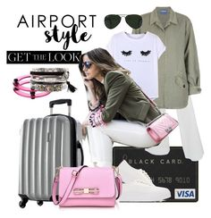 """""""on stand-by"""" by ffendi ❤ liked on Polyvore featuring Serfontaine, Monrow, Chicnova Fashion, Eytys, First People First, New Look, Ray-Ban, GetTheLook and airportstyle"""