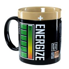 Hot coffee from this mug recharges your energy reserve.