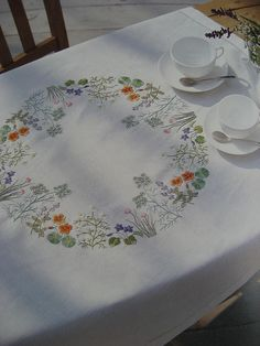 Embroidered table cloth japanese embroidery book | Flickr - Photo Sharing!