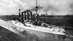 8.2 in armoured cruiser SMS Scharnhorst, later Admiral von Spee's flagship at the Battles of Coronel and the Falkland Islands (when she was sunk) in 1914, pictured pre-war in the Kiel Canal.