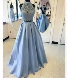 High Neck Prom Gown,Fashion Lace Top A-Line Blue Prom Gowns,Satin Long Prom Dress with Lace,Sexy Backless Prom Dress,Long Evening Dress,Formal Dress