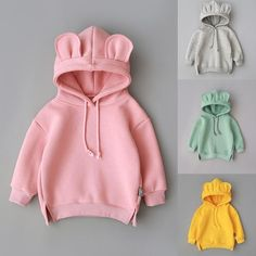 2020 New baby fleece hooded solid color sweater Toddler Baby Kids Boy Girl Hooded Cartoon Ear Hoodie Sweatshirt Tops Clothes Baby Outfits, Kids Outfits, Batman Outfits, Rock Outfits, Emo Outfits, Baby Coat, Mode Hijab, Hooded Sweater, Hoodies