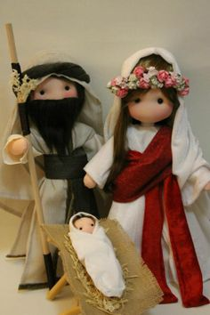 ''Fidelina Dolls...Soul & Heart''. Christmas Nativity Scene, Nativity Crafts, Christmas Deco, Christmas Ornaments, Christmas Crafts For Kids, Xmas Crafts, Kawaii Doll, Felt Baby, Waldorf Dolls