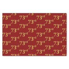Red Faux Gold 73rd (Seventy-Third) Event Tissue Paper - birthday diy gift present custom ideas