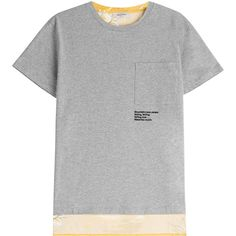 Valentino Cotton Jersey T-Shirt (€330) ❤ liked on Polyvore featuring tops, t-shirts, grey, short sleeve tee, floral t shirt, gray t shirt, gray pocket tee and floral tee
