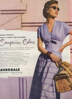 Avondale ad in Vogue 1949 purple 40s 50s print ad. I love the top piece to this dress! Possible sewing idea