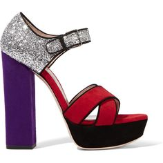 Miu Miu Glittered suede platform sandals ($735) found on Polyvore featuring women's fashion, shoes, sandals, heels, miu miu, burgundy, block heel sandals, high heel sandals, heeled sandals and block-heel sandals