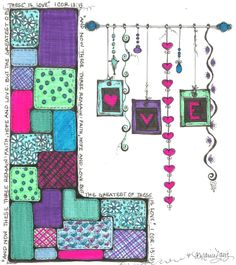 Whimsical pen and ink. Love, quilt, valentines day, doodles, dangles, dangle art, colorful.