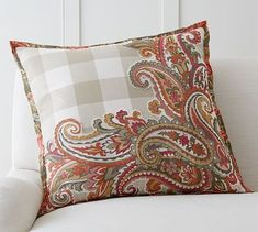 "Ingram Plaid Applique Pillow Cover, 24"", Mullti"