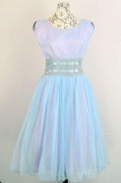 Vintage 1950s ice blue chiffon dress - Rockabilly - Pinup - Mad Men - Prom - Formal dress