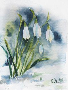 Original watercolor painting SNOWDROPS Spring flowers #watercolorarts