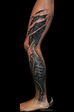 Full Leg Biomechanical Tattoo Cover Up - Tattoo by Sebastian Żmijewski - 12