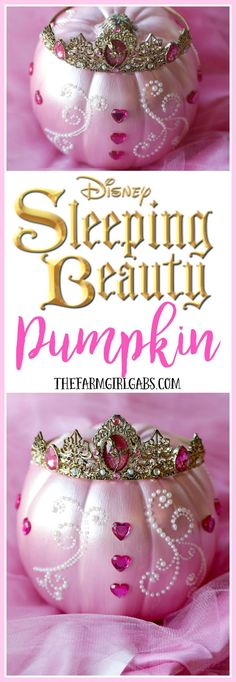 Turn an ordinary pumpkin into this beautiful Sleeping Beauty Pumpkin. This Disney-inspired craft is something your little princess will enjoy creating for Halloween. Fairy Halloween Costumes, Disney Halloween, Holidays Halloween, Halloween Crafts, Holiday Crafts, Halloween Decorations, Halloween Ideas, Pink Halloween, Happy Halloween
