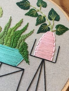 Pot plants on wire table hand embroidery plant embroidery