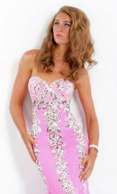 Pink Mermaid/Trumpet Strapless Long/Floor-length Sparkly Prom Dress PD326F
