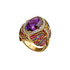 """TROPICAL NIGHT"" RING ~ 18k White and Yellow Gold, 25.52ct Amethyst, Sapphires, Rubies and Diamonds"